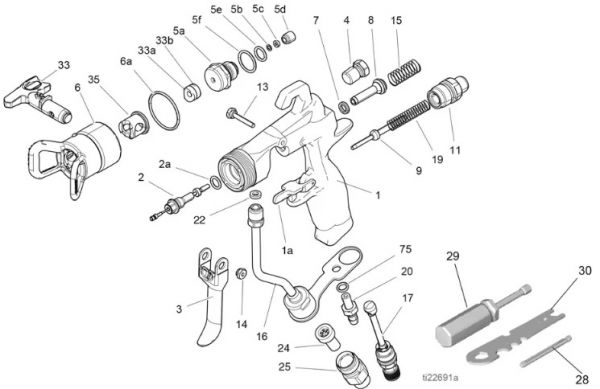 Graco G40 spray gun (262929) – Technical drawing & spare parts order list - Airless Discounter - News for Home Painters