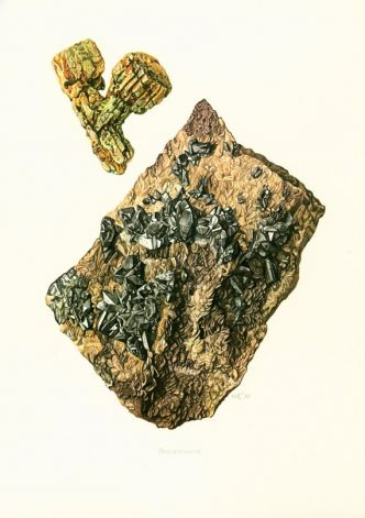 1970 Illustration Bournonite Planche Originale Pierres Mineraux Roches Cristaux. Geologie. Decoration murale.