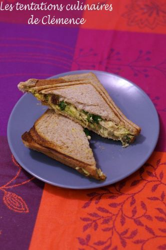 Croque poulet, avocat curry