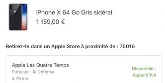 Des iPhone X 64 Go gris sidéral disponibles en Apple Store sur Paris