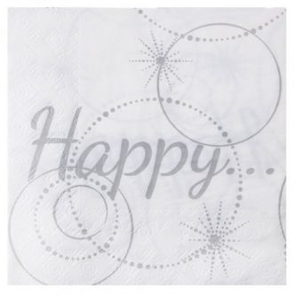 Serviette de table Happy blanc et argent papier x20 : Serviette papier