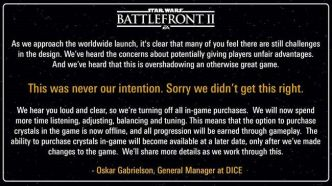 Star Wars Battlefront 2 : EA retire les transactions in-game !