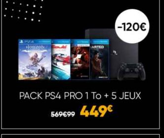 Bon plan black friday console PS4 PRO 1To + 5 jeux à 449€
