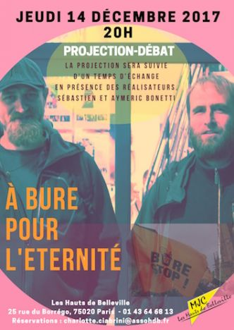 Projection du documentaire documentaire « À Bure pour l'éternité », à Paris