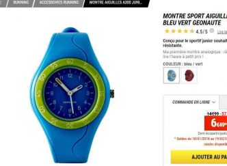 Montre enfant Geonaute a300 decathlon à 6.5€ ( 60% de réduction)