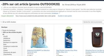 Promo Amazon : 20% de réduction sur des articles Outdoor  – Plein air