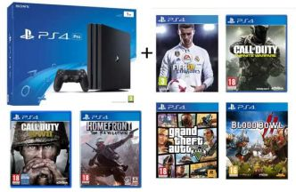 Auchan : pack console PS4 Pro 1 To + 6 jeux (Fifa 18, GTA V, COD WW2, Homefront, COD Infinite Warfare, Blood Bowl 2) à 434,99 €