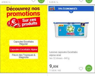 Megas affaires Lessives, bieres.. en cumulant 70% sur la carte + 10€ de réduction (carrefour)