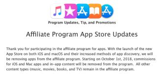 Apple supprime le programme d'affiliation pour les applications