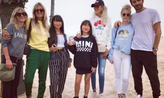 la première photo de Laeticia Hallyday et family à Santa Monica, California