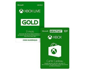 Amazon : Xbox Live Gold 3 mois + 10 € de carte cadeau à 19,99 €