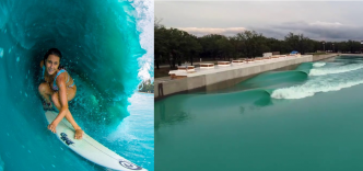 Alana Blanchard en mode freesurf sur une vague artificielle au Texas