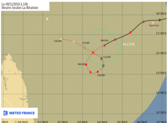 [Météo France] Le cyclone tropical intense Alcide à 1045 km de La Réunion