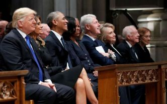 En images : Trump, Obama et Clinton réunis pour un adieu solennel à George H. W. Bush