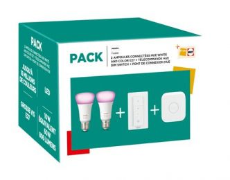 Fnac : pack Philips Hue White and Color 2 ampoules + télécommande + pont de connexion à 99,99 €