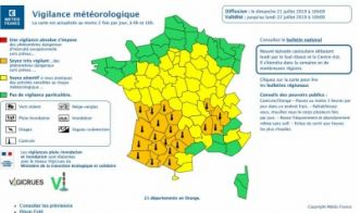 Canicule : 21 départements en vigilance orange