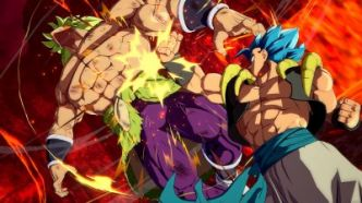 Dragon Ball FighterZ : des visuels explosifs du Dramatic Finish de Gogeta SSGSS face à Broly (DBS)