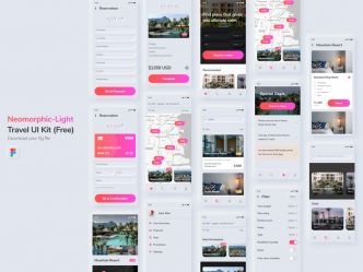 [FIGMA] – Superbe neomorphic Travel UI Kit par Waris Qureshi