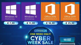 Cyber Week : jusqu'à 95% de réduction chez GoDeal 24, Windows 10 à 7,30 euros