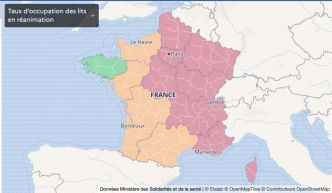 Carte de France Covid le 1er mars : le taux d'occupation lits de réanimation par région